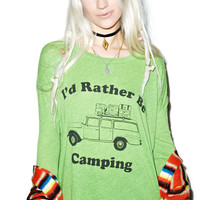 Wildfox Couture Rather Be Camping Runaway Long-Sleeve Tee Meditate