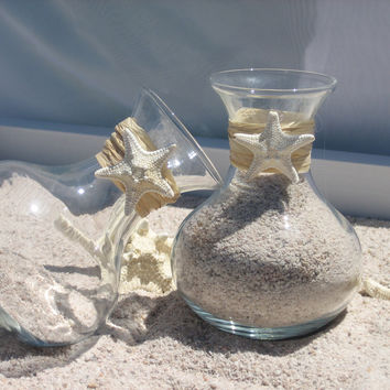 Unity Sand Ceremony Vases trimmed with Raffia and small natural starfish