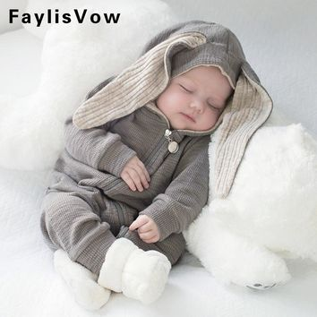 Kids Warm Long Sleeve Bunny Style Pajamas Infant Cotton Zipper Jumpsuits Baby Newborn Rabbit Cosplay Outfit Toddler Hooded Cloth