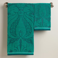 Teal Esme Sculpted Towels - World Market