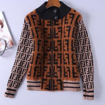 FENDI Autumn Winter Classic Fashion Women Casual Half High Collar Mohair Knit Cardigan Jacket Coat Coffee I13881-1