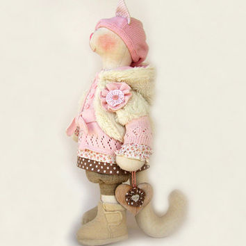 "Artist Stuffed cat doll Melissa Wooden heart Handmade doll OOAK cat 19"" 49cm cat Creamy Pink Soft Toy cat Cloth toy cat fabric doll pussycat"