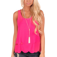 Hot Pink Scalloped Open Back Tank
