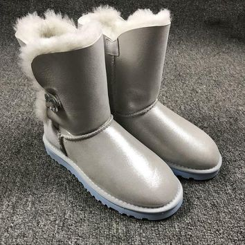 Ugg 1002174 W Irina Clouds Smoke White Classic Bailey Button Bling Boot Snow Boots - Beauty Ticks
