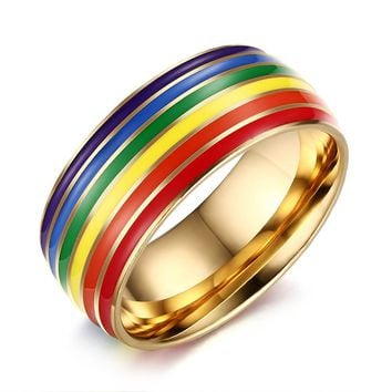 Stainless Steel Rainbow Striped Rainbow Flag Ring Supplies Gay Pride Rainbow Jewelry