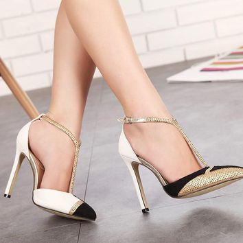 Rhinestone High Heels Women Pumps Sexy Pointed Stiletto