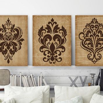 DAMASK Wall Art Canvas or Prints Brown Bathroom Decor, Brown Bedroom Pictures, Tan Brown Beige Decor, Damask Pictures, Set of 3 Artwork