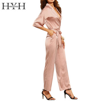 Sexy Plunge Neck Three Quarter Sleeves Tailored Belted Jumpsuit Casual High Waist Romper Elegant Wrap Jumpsuit