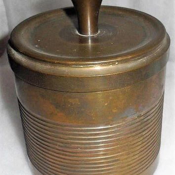 Vintage Handcrafted ARTILLERY Trench Art - Circa 1950s - Bronze and Copper - Pipe Tobacco Humidor - Artillery Shell Casing Humidor