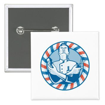 Barber With Clipper Hair Cutter and Scissors Pinback Button