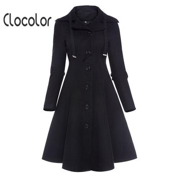 Clocolor Asymmetric Black Coat Stand Collar Long Sleeve Women Overcoat Elegant Single-breasted Slim Fall Winter Women Coat - Beauty Ticks