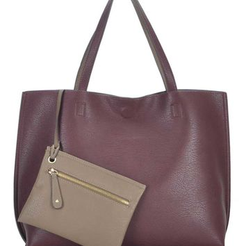 MMS Design Studio Reversible Tote for Women in Wine BGS-1050-WINE/GREY