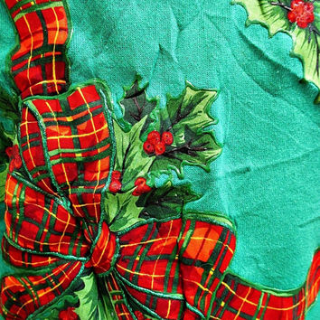 Vintage Traditional Christmas Tartan Bow Jumper Sweater Large