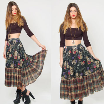 Vintage 70s GUNNE SAX by Jessica Floral & PLAID Contrasting Print Ruffle Skirt Hippie Skirt