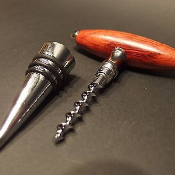 Antique Vintage Style Rosewood Direct Pull Corkscrew Wine Bottle Opener Stopper
