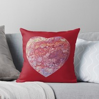 'Heart shaped Fluid Abstract Painting' Throw Pillow by Maria Meester