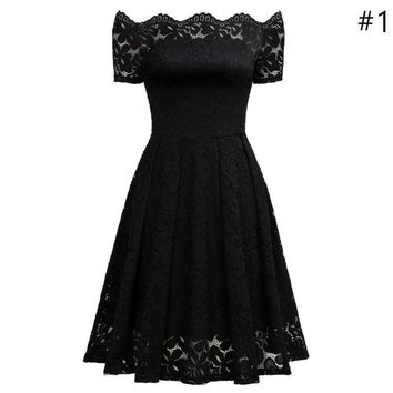 Loneyshow Sexy Floral Vintage Women's Lace Dress Stylish Long Sleeve Slash Neck 50s 60s Retro Swing Wedding Style Party Dress