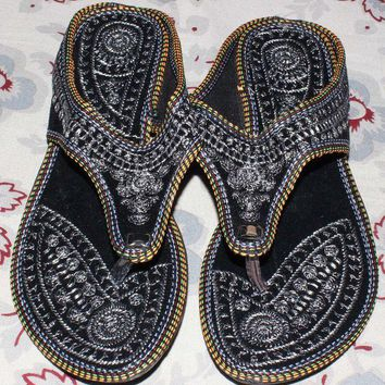 CREYON Rajasthani !! Embroidered Heel Wedges Ethnic Fashion Woman Sandal, Slippers US10