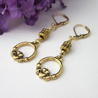 Gold Claddagh Dangling Earrings Double Sided Charms Leverbacks