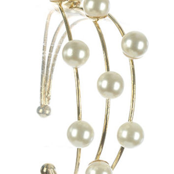 BRACELET / THREE LAYER / WIRE CUFF / PEARL / 2 1/4 INCH DIAMETER / 1 1/4 INCH TALL / NICKEL AND LEAD COMPLIANT