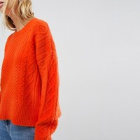 ASOS Jumper in Fluffy Cable in Wide Sleeve at asos.com