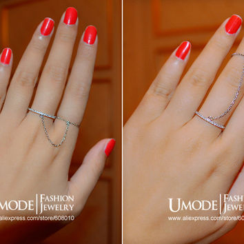 UMODE Fashion Girl's Two Bands Ring Chain Adjustable Gold Color Couple Finger Rings for Women Two Bands Chain Ring Gift JR0124B