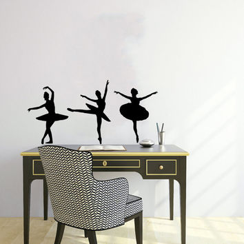 Three Dancers Girls Ballet Ballerina Sport Home Wall Housewares Vinyl Decal Art Decor Removable Stylish Sticker Unique Design Room V503