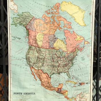 1937 Nystrom Vintage School Map of North America Roll Up Pull Down Classroom Wall Map Hemispheres