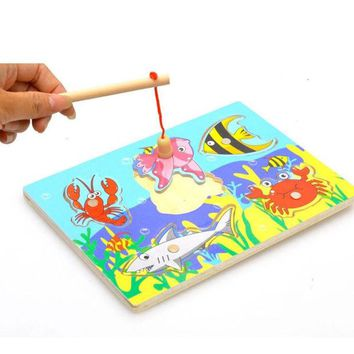DCCKL72 3D Magnetic Educational Fishing Puzzles Wooden Toys Gifts for Baby Kids Children Birthday Party Interactive Funny Games