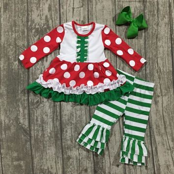 Christmas  polka dot Outfit with Bow