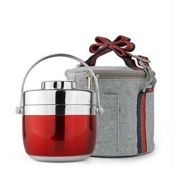 Home Dinnerware Stainless Steel Dish Set Lunch Bento Box Double Layer Food Container Portable Thermal Bag Kids Lunch Storage Box