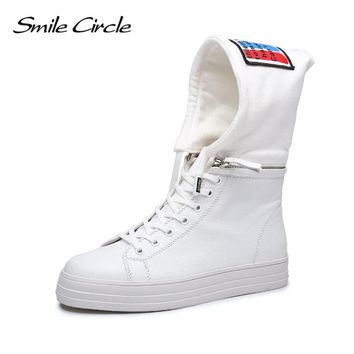 Autum Winter Shoes For Women Lace-up Flats Shoes Women's Fashion hat Sneakers Casual Shoes Girls Student High-top Platform shoes