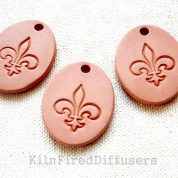Diffuser Clay, Fleur de Lis Pendant, Aromatherapy Essential Oil Diffuser Pendant, DIY Necklace, Oval Terracotta Bisque Ceramic Unglazed