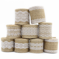 1m lot 5-6cm Wedding Event Decoration Rustic Vintage Craft Gift Natural Burlap Ribbon Jute roll White Lace 047005044
