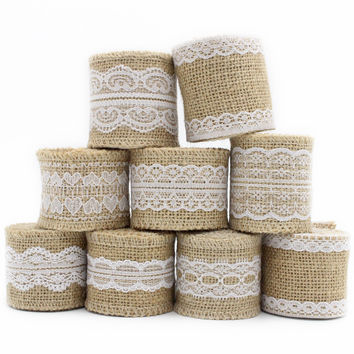 2m lot 5-6cm Natural Jute Burlap Hessian Ribbon with Lace Trims Tape Rustic Wedding Decor Wedding Cake Topper 047005021