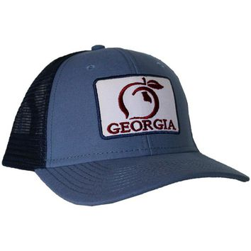 Georgia Patch Mesh Back Hat in Breaker Blue by Peach State Pride