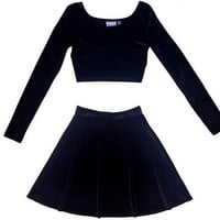 2 Piece Long Sleeve Velvet Dress