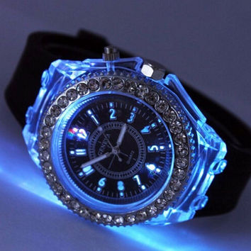 Unique Casual Rhinestone Light up Jelly Watch
