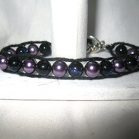 Sparkley Purple and Black beaded wrap braclet