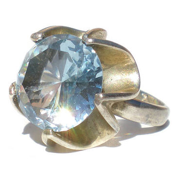 Light Blue Topaz Ring on Sterling Silver Buttercup Setting Signed MEXICO 925 AG Size 6.25 - Vintage Jewelry Round Cut Solitare