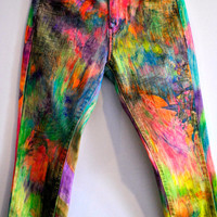 Bold Abstract Graffiti Skinny Jeans / Custom Upcycled Hand Drawn Printed Studded Pocket Ultra Stretch Color Denim Pants / Size 25 26 US 2 4