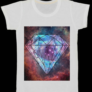 Diamond Galaxy Universe Space Women T-Shirt Art Tee Shirt White Tshirt Size XS, S, L