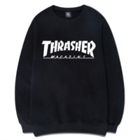 Black Thrasher Magazine Flame Round Neck Sweatershirt Pullover
