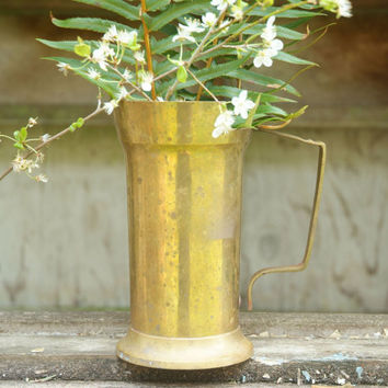 Rustic Brass Vase, Cottage, Farmhouse Decor, Vintage Vase with Handle, Brass Flower Pot, Rustic Wedding Decor, Brass Pitcher