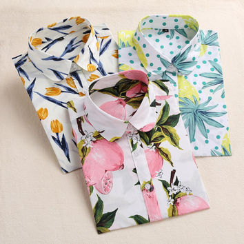 Dioufond Lemon Floral Print Summer Blouse Women Shirt Long Sleeve Cotton Blouse Turn Down Collar Women Tops And Blouses Fashion