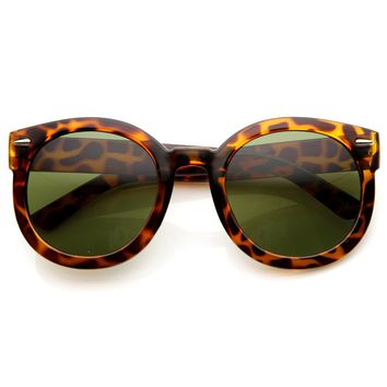Womens Plastic Sunglasses Oversized Retro Style with Metal Rivets