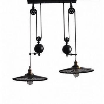 2 light Up and down adjustable black edison retro industrial countryside pulley pendant lamp light with inner glass shade