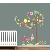 Kids-Rooms-Nursery-Wall-Decal - Tree Owl - Wall Decals , Home WallArt Decals