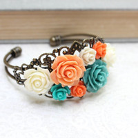 Flower Cuff Bracelet Bright Floral Colorful Modern Wedding Orange and Teal Rose Bracelet Boho Chic Jewelry Bridesmaids Gift For Mother