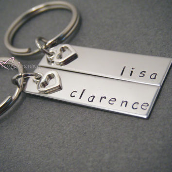 Personalized Keychains w/ Personalized names Couples Keychains with heart charm